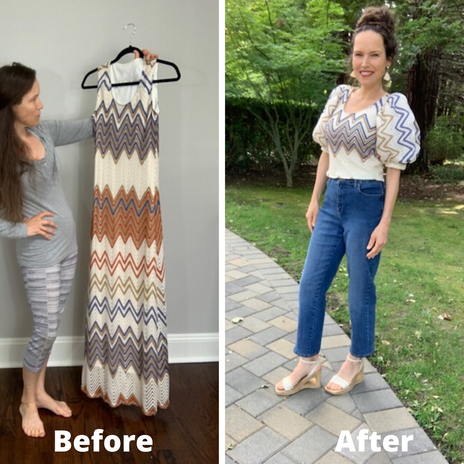 Refashioned Thrifted Sleeveless Dress Into Puffy Sleeved Blouse