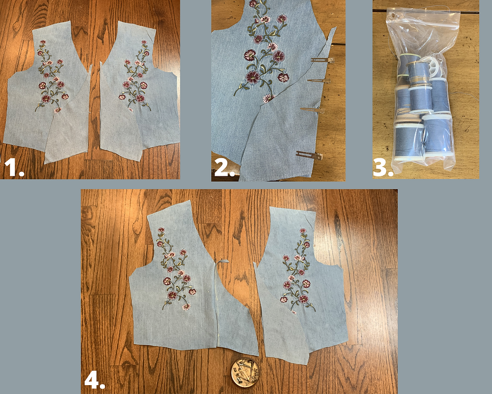 sewing on front bodice extensions