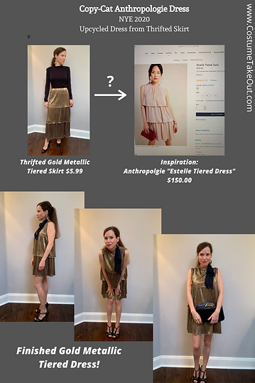 Copy-Cat Anthropologie Dress Refashioned From Upcycled Thrifted Gold Tiered Metallic Skirt