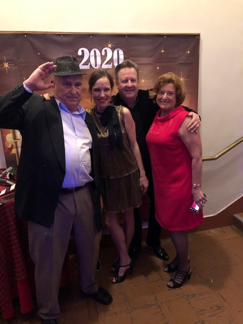 Eva with husband and her parents at 2020 NYE Party