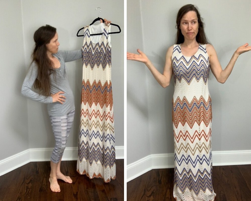 Before image of Missoni-esque dress