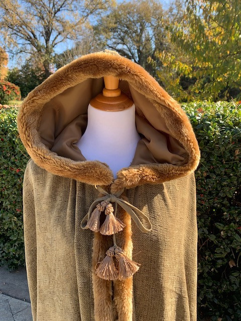 Outdoor Close-Up, Outdoor Photo Hooded Cape Up-Cycled from Chenille Drapes