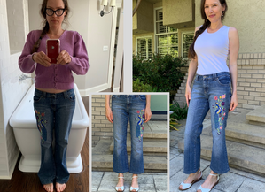 Refashion Boot Cut into Crop Flare Jeans...Difference Upcycle vs. Refashion