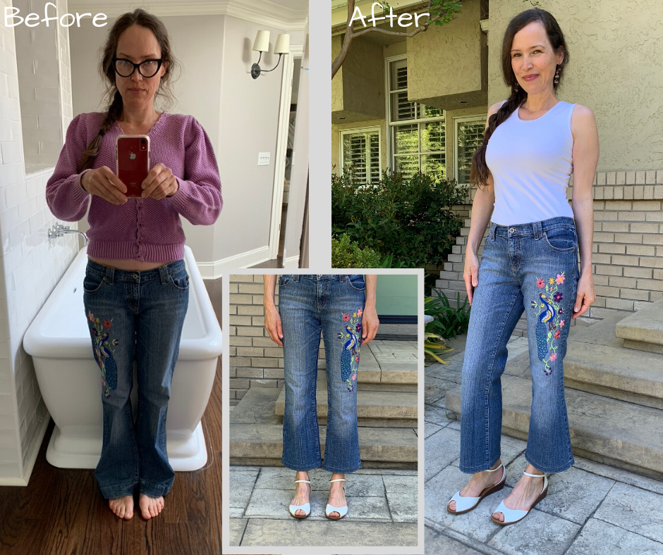 before and after crop flare jeans