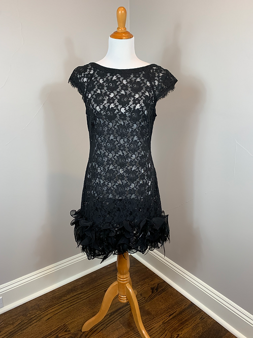 Shift Overlay Lace Dress with Feathered Hem