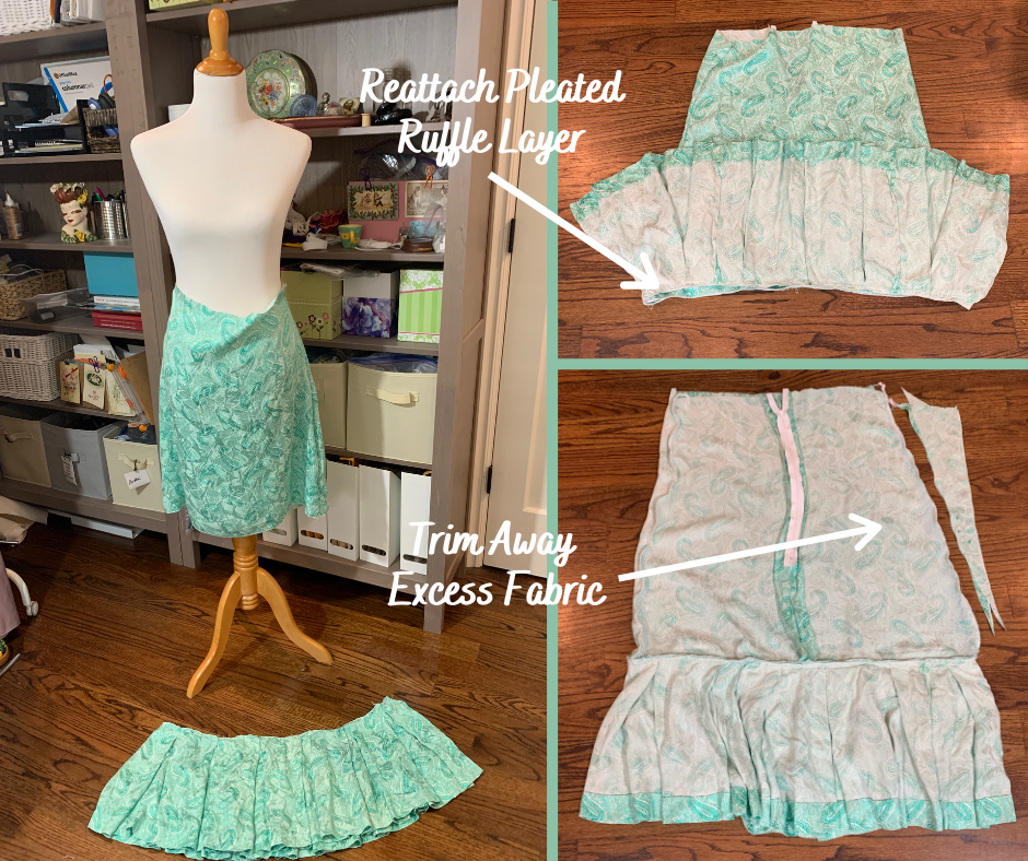 upcycle long, high-low ruffle skirt