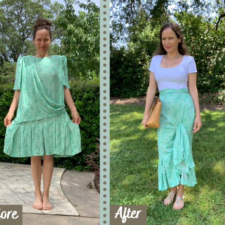 1980's Dress Upcycle Into                   High-Low Ruffle Skirt