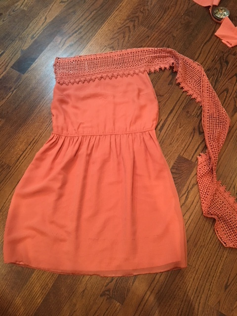 added crocheted lace at top of dress