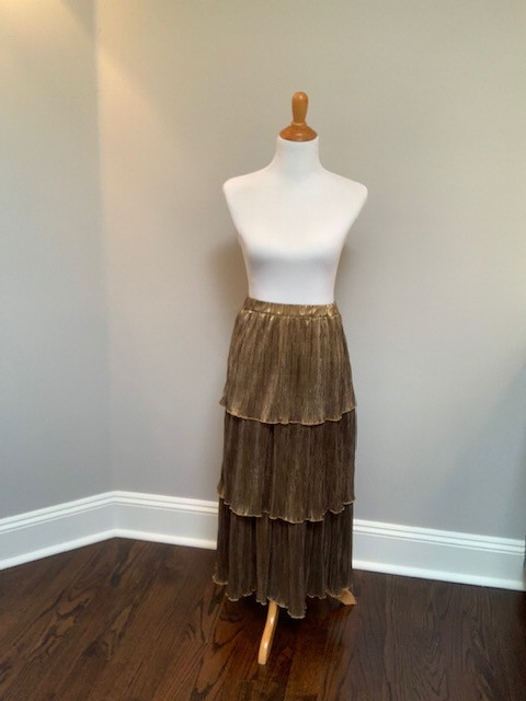 Thrifted Gold Tiered Skirt