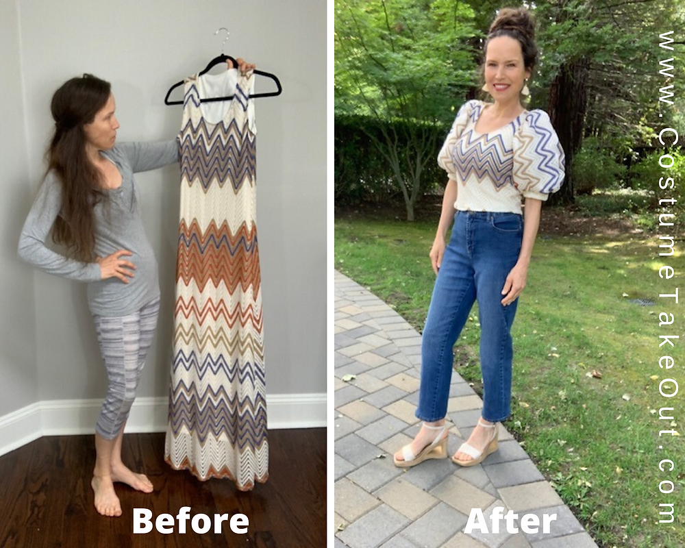 before and after Refashioned Sleeveless Dress into Puffy Sleeved Blouse