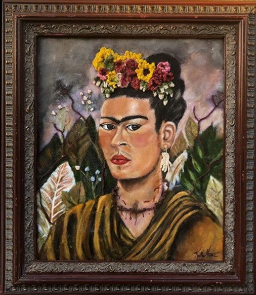 Mixed Media Self Portrait of Frida - Framed