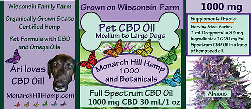 Pet CBD 1000 for Medium to Large Dogs over 31 lbs