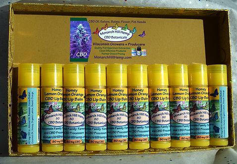 10 Pack Honey CBD Lip Balm: Choose 1 or 2 Flavors