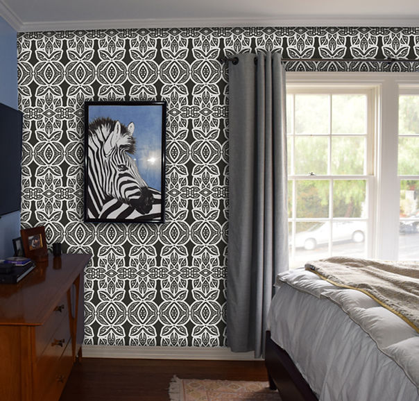 Tribal print for master bedroom. Hollywood/Orange home.