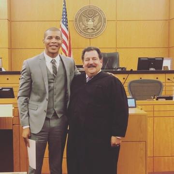 Derek Bluford with Federal Judge after c