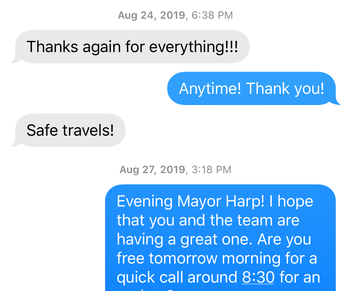 Mayor Toni Harp texting FBI CHS Bluford