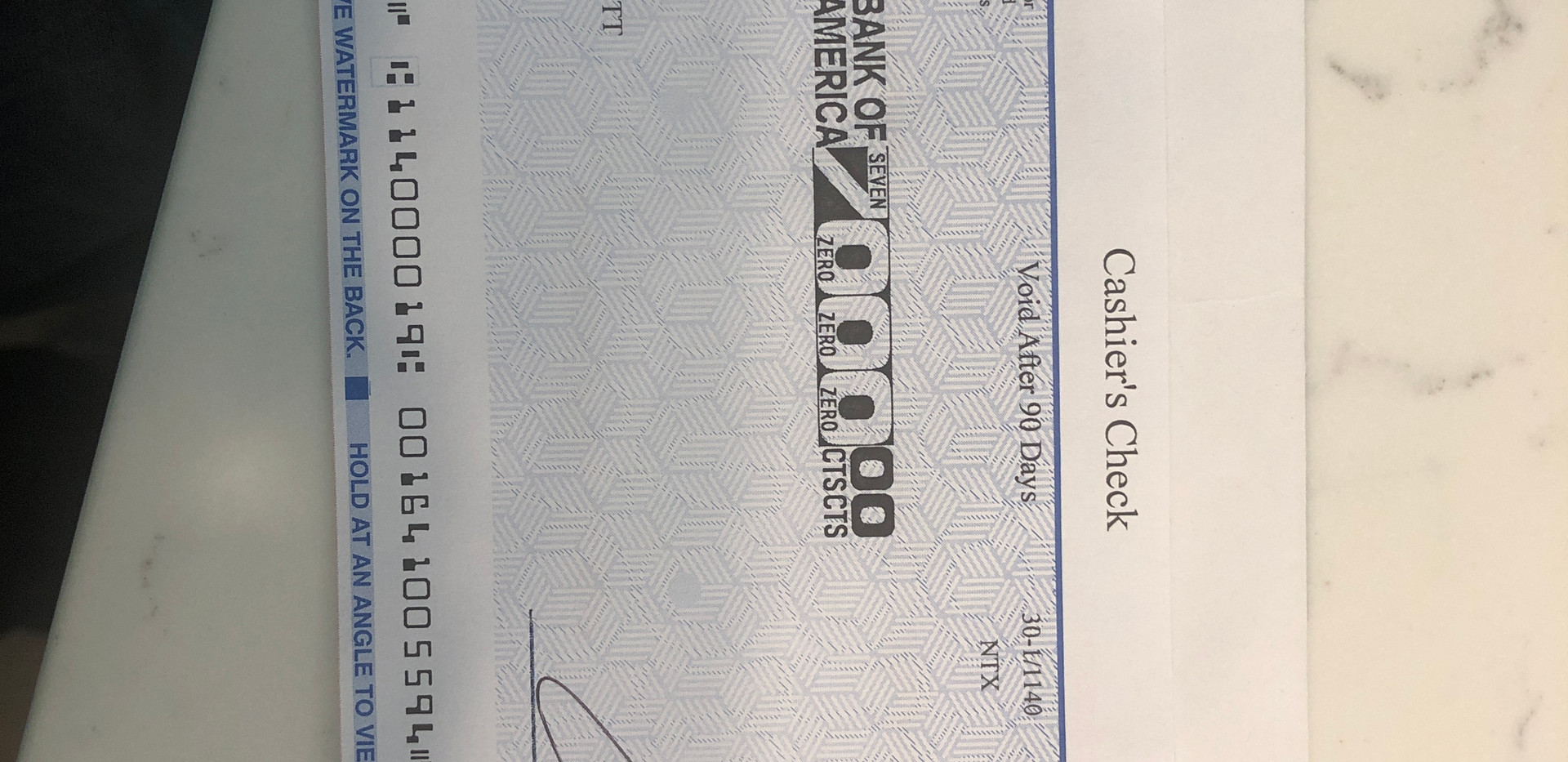Check from Andrea Scott to FBI CHS Derek