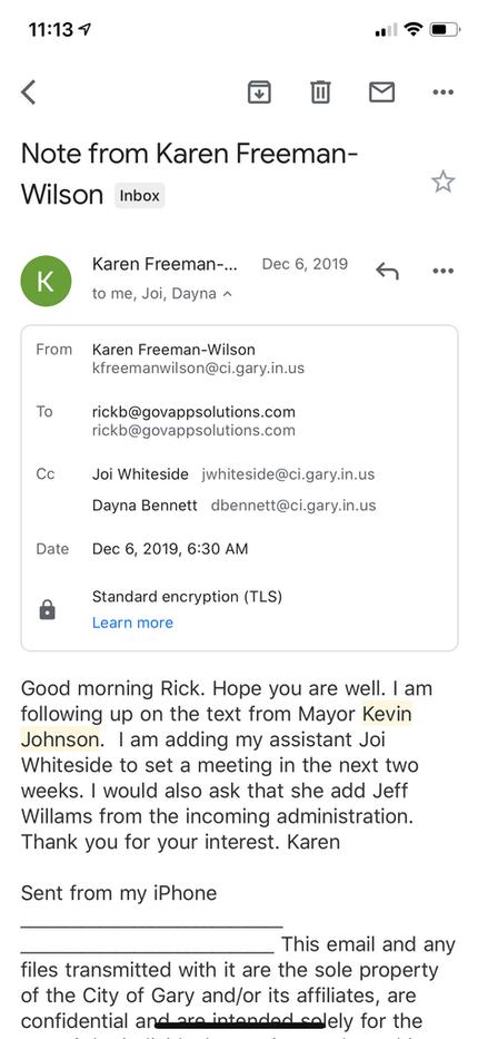 Gary Indiana Mayor Karen Freeman-Wilson.