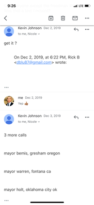 Mayor Kevin Johnson sending emails to FB