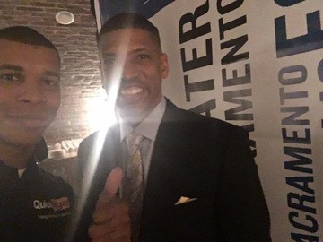 Derek Bluford with Mayor Kevin Johnson -