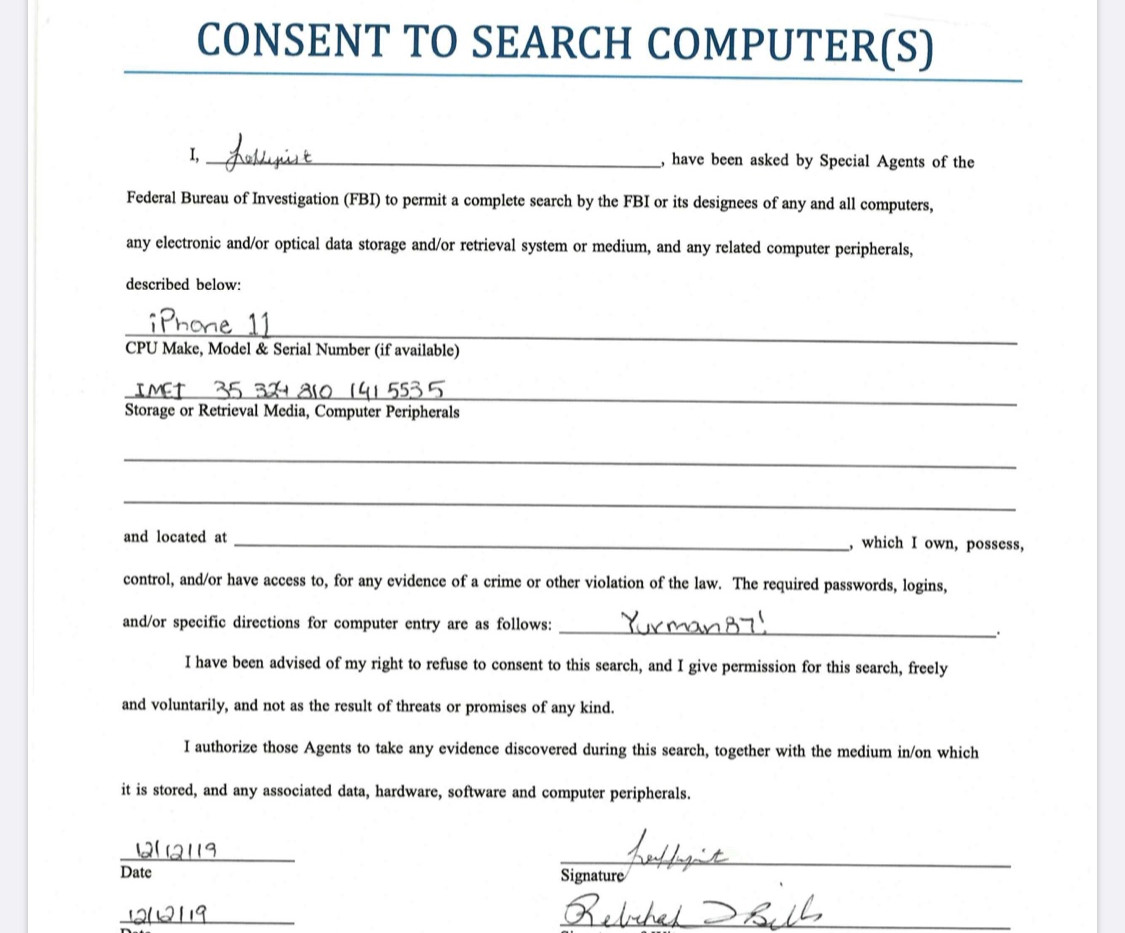 FBI - Consent Form to dump phone - Speci