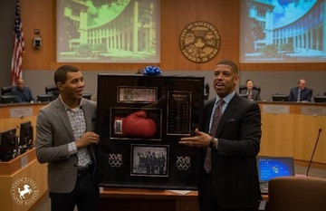 Derek Bluford and Mayor Kevin Johnson at