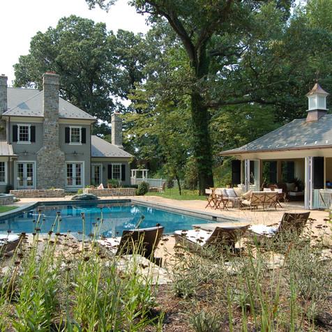 Classic Stone and Shingle Pool House