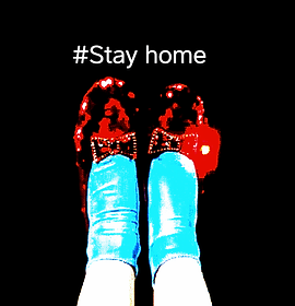 Digitally altered screenshot of dorothy's red shoes, there's no place like home.