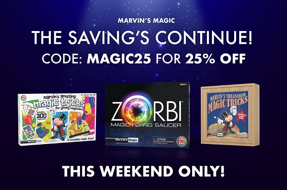25% Off Marvin's Magic Sale This Weekend