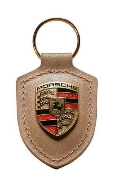 Genuine New Porsche BeigeLeather Keyring