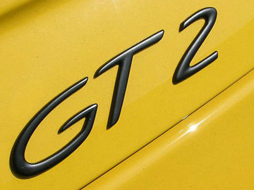 Porsche GT2 Black Scripted Badge