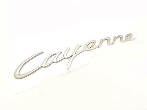 Genuine Porsche Cayenne Rear Badge Script Silver
