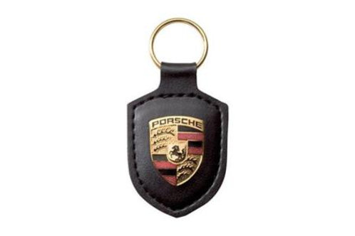 Genuine Porsche Black Leather Keyring