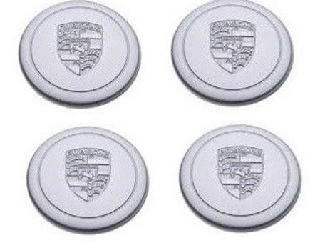 Genuine Porsche Fuchs 3 Prong Early Silver Alloy Wheel Metal Centre Caps