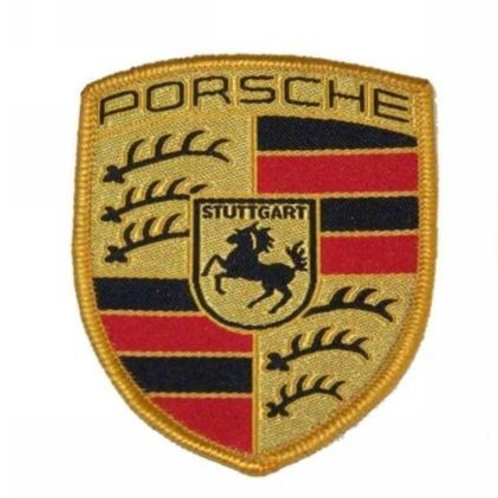 Pair of Porsche Fabric Sew On Coloured Crest - Seats Overalls Coat