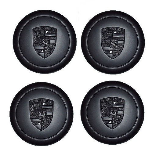 Genuine Porsche Fuch Fuchs Black Alloy Wheel Metal Centre Caps