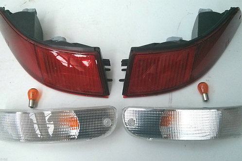 Porsche 993 Clear Front & All Red Rear Light Kit