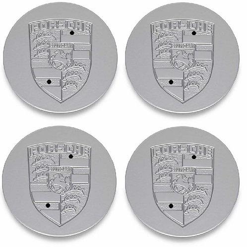Genuine Porsche Silver Crested Alloy Wheel Metal Centre Caps