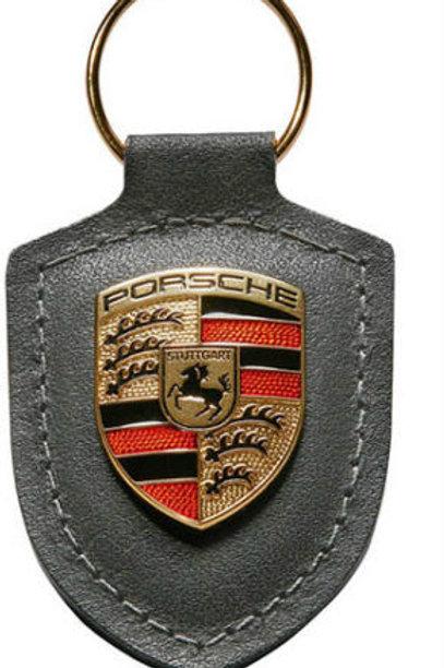 Genuine Porsche Grey Leather Keyring