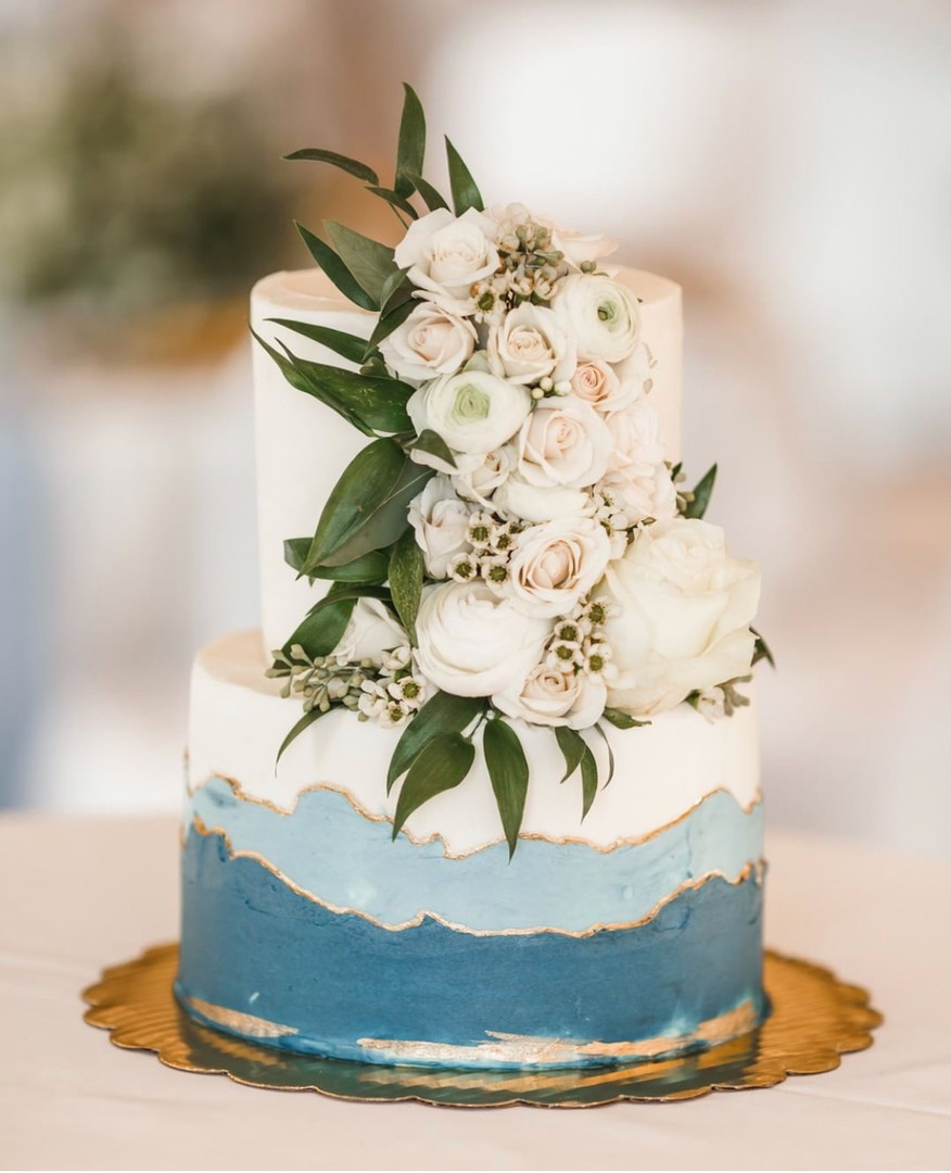 layered buttercream with flowers