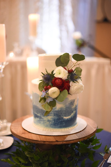watercolor cake with flowers