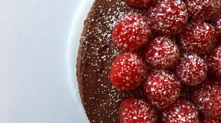 chocolate cake w fresh raspberries $40