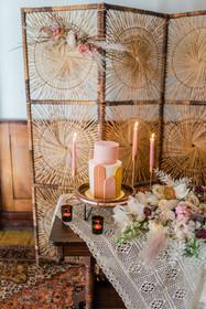 boho cake with fondant arches