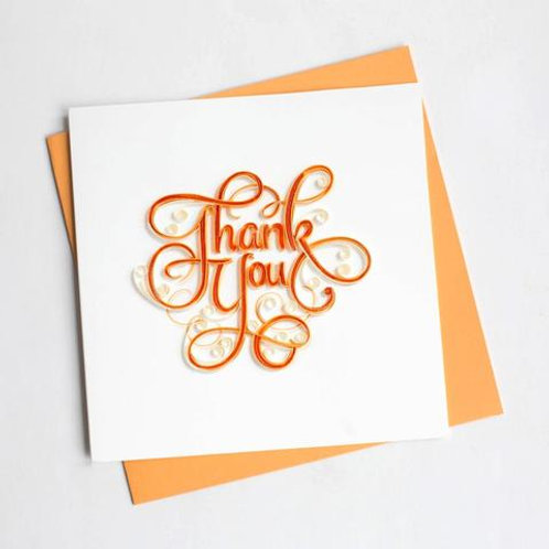 Orange Thank You Quilling Card
