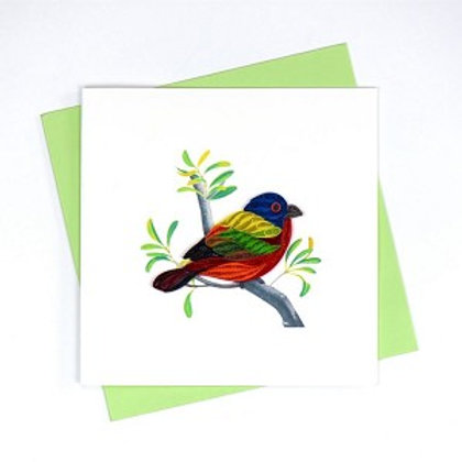Painted Bunting Quilling Card