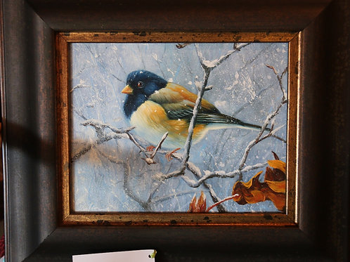 Blue Bird in the Snow Oil Painting