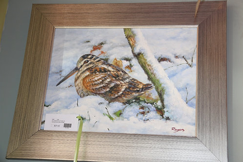 Brown Bird in the Snow Oil Painting
