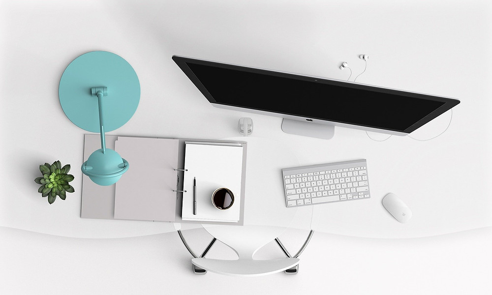 Desk, organisation, working from home, computer, office space