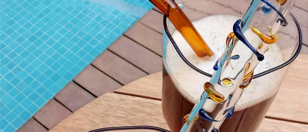 Canudo Tigg da Bela Aiache, peça única e especial criada a mão no maçarico, em borossilicato - vidro termoresistente.