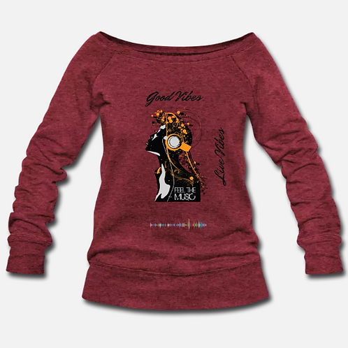 LIVE VIBES WOMENS WIDENECK SWEATER - HEATHER RED